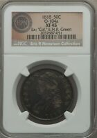 1818 CAPPED BUST HALF DOLLAR, O-104A, R.3, EXTRA FINE 45, NGC, FREE PRIORITY SHIPPING
