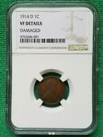 1914 D LINCOLN WHEAT CENT PENNY NGC GRADED VF DETAILS DAMAGED