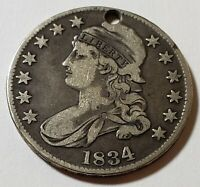 1834 CAPPED BUST HALF DOLLAR HAS HOLE