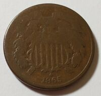 1865 2 TWO CENT PIECE