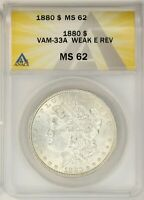 1880 P  MORGAN SILVER DOLLAR  VAM-33A WEAK E CLASHED MINT STATE 62
