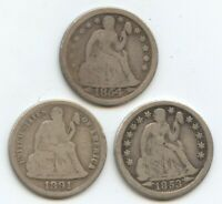 1853 ARROWS, 1854 & 1891-S SEATED DIMES 12107 VG CLEANED.
