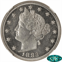 1883 T1 LIBERTY V NICKEL NGC AND CAC PF 64 CAMEO NO CENTS  VARIETY