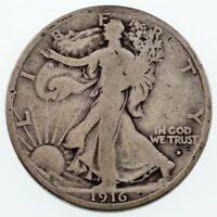 1916-D 50C WALKING LIBERTY HALF DOLLAR IN VG CONDITION, NATURAL COLOR BOTH SIDES