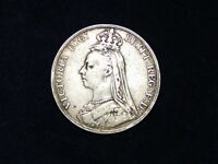 1889 QUEEN VICTORIA CROWN 5 SHILLINGS SOLID SILVER COIN