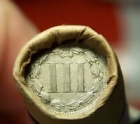3 CENT NICKEL TAIL AND 1884 INDIAN HEAD CENT END ON ROLL OF