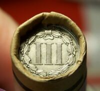 3 CENT NICKEL TAIL AND 1899 INDIAN HEAD CENT END ON ROLL OF