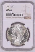 CHOICE UNC 1881-S MORGAN SILVER DOLLAR - GRADED NGC - MINT STATE 63