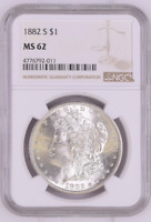 CHOICE UNC 1882-S MORGAN SILVER DOLLAR - GRADED NGC - MINT STATE 62