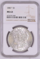 CHOICE UNC 1887-P MORGAN SILVER DOLLAR - GRADED NGC - MINT STATE 63