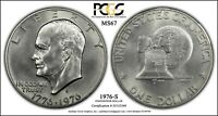 1976 S EISENHOWER IKE SILVER DOLLAR PCGS MS67 PQ CLEAN COIN SMOOTH SURFACES