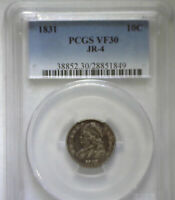 1831 JR-4 CAPPED BUST DIME GRADED PCGS30 VARIETY IS ON THE LABEL.