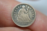 1856 SEATED LIBERTY HALF DIME  NICE DETAILS  ROTATED REVERSE
