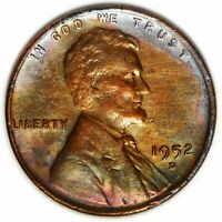 1952 D   LINCOLN WHEAT CENT   CIRC,  OLD COIN TONING , 1.780