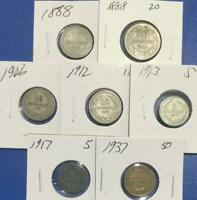 1888 1937 BULGARIAN SET OF 7 ASSORTED CARDED COINS
