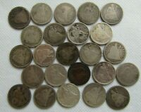 LOT OF 24 SEATED LIBERTY DIMES 1838-1891 MIXED DATES & CONDITIONS