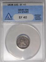 1838 10C ANACS EF 40  FINE EXTRA FINE  SEATED LIBERTY SILVER DIME COIN