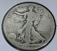 1919 D WALKING LIBERTY HALF DOLLAR G  DETAILS WITH FULL DATE AND RIMS