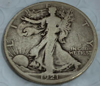 1921-D WALKING LIBERTY SILVER HALF  F / VF - FULL DATE AND RIMS AWESOME FIND