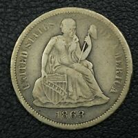 1863 S SEATED LIBERTY SILVER DIME