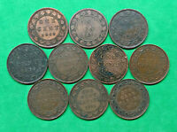 LOT OF 10 DIFFERENT OLD CANADA LARGE CENT COINS 1859 1919