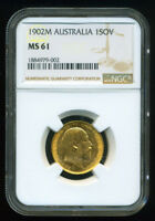 AUSTRALIA 1902 M GOLD COIN EVII SOVEREIGN   NGC CERTIFIED MS