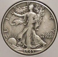 WALKING LIBERTY HALF - 1943-D - BEAUTIFUL SILVER - $1 UNLIMITED SHIPPING