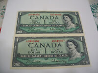 LOT OF 2  1954   CANADA ONE 1 $  DOLLAR BILL  1954     IN SEQUENCE