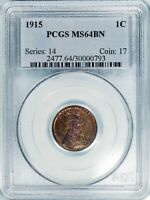 1915 LINCOLN CENT WHEAT REVERSE PCGS MINT STATE 64BN