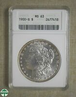 1900-S MORGAN DOLLAR - ANACS CERTIFIED - MINT STATE 63
