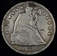 FINE DETAILS 1871 SEATED LIBERTY SILVER DOLLAR.  OLD US SIL