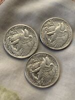 1942-S WALKING LIBERTY SILVER HALF DOLLAR A LOT OF 3 COINS AN 1944