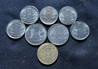 INDIA   ERROR COIN LOT   OFF CENTER   8 COINS IN 1 2 AND 5 R