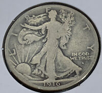 1916-S LIBERTY WALKING HALF DOLL VG CONDITION FULL DATE AND RIMS   COIN