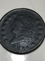 1814 LARGE CENT CROSSLET 4 GRANDFATHERS COLLECTION   VF XF V