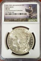 1921 MORGAN SILVER DOLLAR VAM-25 TOP-100 WIDE REEDS R4 MINT STATE 63 NGC REV TONED
