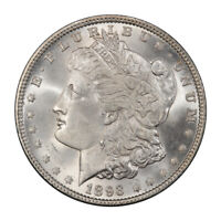 1893 $1 MORGAN DOLLAR PCGS MINT STATE 65 CAC 3074-2 BLAST WHITE