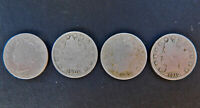 U.S. LIBERTY HEAD V NICKEL, SET OF 4 DATES 1900, 1901, 1904, 1910 GOOD CONDITION