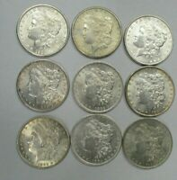 LOT OF 9 MORGAN SILVER DOLLARS 90 SILVER AU/BU COINS 1881-1904