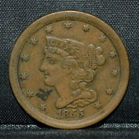 1855 BRAIDED HAIR HALF-CENT  VF  FINE  1/2C  NOW TRUSTED