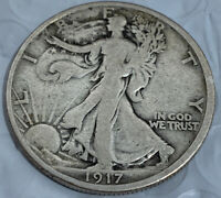 1917 WALKING LIBERTY HALF DOLLAR F FULL DATE AND RIMS WITH VF DETAILS A SLOT