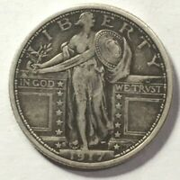 1917 S TYPE 1 STANDING LIBERTY QUARTER HI GRADE ORIGINAL COIN EF ALMOST FH