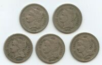 1870, 1871,  1872, 1874 & 1881 3C NICKELS 12221 ALL VF