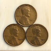 THREE PENNY SET 1924, 25, 26. YOUR ACTUAL COINS IN PHOTO.  GROUP EYE APPEAL.