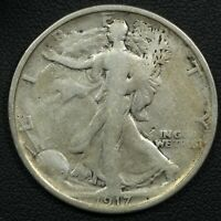 1917 S REVERSE MINT MARK WALKING LIBERTY SILVER HALF DOLLAR - CLEANED