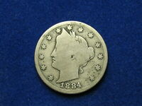 BEAUTIFUL U.S. SEMI KEY DATE 1884 LIBERTY V NICKEL IN COLLECTIBLE CONDITION 4S