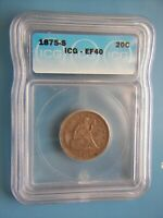 1875 S TWENTY CENT PIECE CERTIFIED BY ICG   EF40