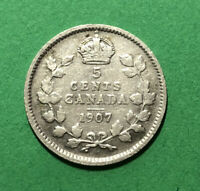 1907 CANADA 5 CENTS SILVER FIVE CENT