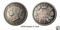1872H CANADA 10 CENTS COIN VF KEY DATE TRENDS $600