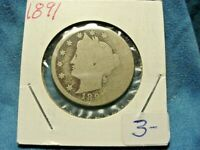 1891 LIBERTY HEAD NICKEL  ABOUT GOOD